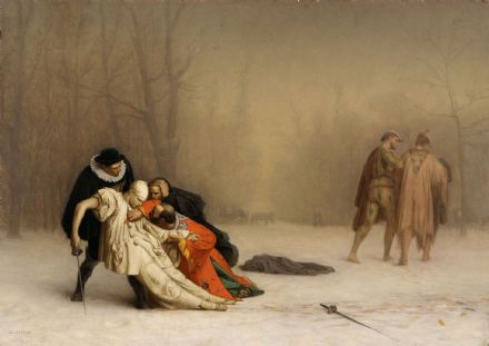 Gerome, Jean Leon: The Duel After the Masquerade. Fine Art Print/Poster. Sizes: A4/A3/A2/A1 (002838)